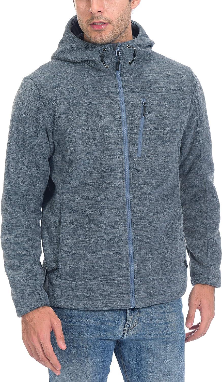 Little Donkey Andy Men's Lightweight Hooded Fleece Jackets for Hiking Travelling Casual Wear, Flint Stone XXL