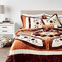Tache Home Fashion Autumn's Last Blossom Fall Orange Brown Medallion Puffy Flowers Floral Patchwork Plush Comforter Beddin...