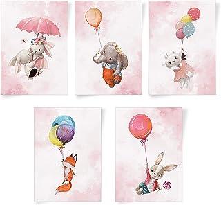 Set de 5 affiches pour chambre de bébé - animaux avec ballons peints à la main - photos A4 pour chambre d'enfant – décorat...