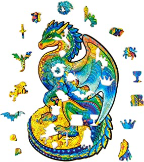 Unidragon Wooden Puzzle Jigsaw, Best Gift for Adults and Kids, Unique Shape Jigsaw Pieces Guarding Dragon, 6.2 ? 10.3 in (16 ? 26 cm) 97 pcs, Small