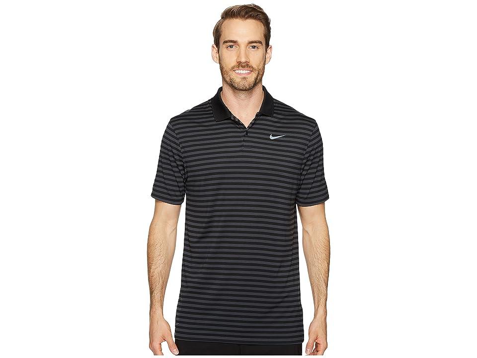 Nike Golf Dri-FITtm Mini-Stripe Victory Polo (Black/Anthracite/Flat Silver) Men