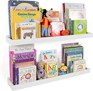 Wallniture Philly Nursery Bookshelf - Floating Book Shelves for Kids Room - 31 Inch Picture Ledge Book Tray Toy Storage Display White Set of 2