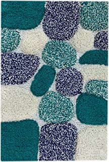 Pebbles Cotton Bath Rug Set - 100% Pure Cotton Bath Rug Runner- 24x60- Soft Absorbent Machine Washable -Antiskid Rugs for Living Room, Bath Rugs Kids, Entry Rugs,Teal/Ink Blue