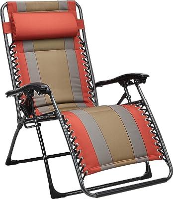 AmazonBasics Outdoor Padded Zero Gravity Lounge Beach Chair - 65 x 29.5 x 44.1 Inches, Red