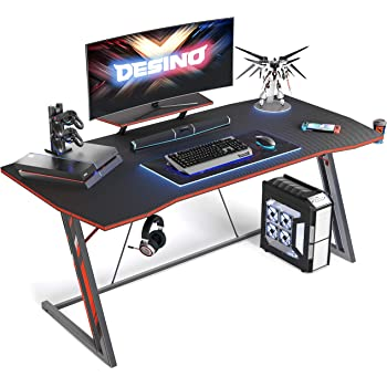 Amazon Com Vitesse 55 Inch Gaming Desk Racing Style Computer Desk With Free Mouse Pad Usb Gaming Handle Rack T Shaped Professional Gamer Game Station With Cup Holder Headphone Hook Carbon Fiber