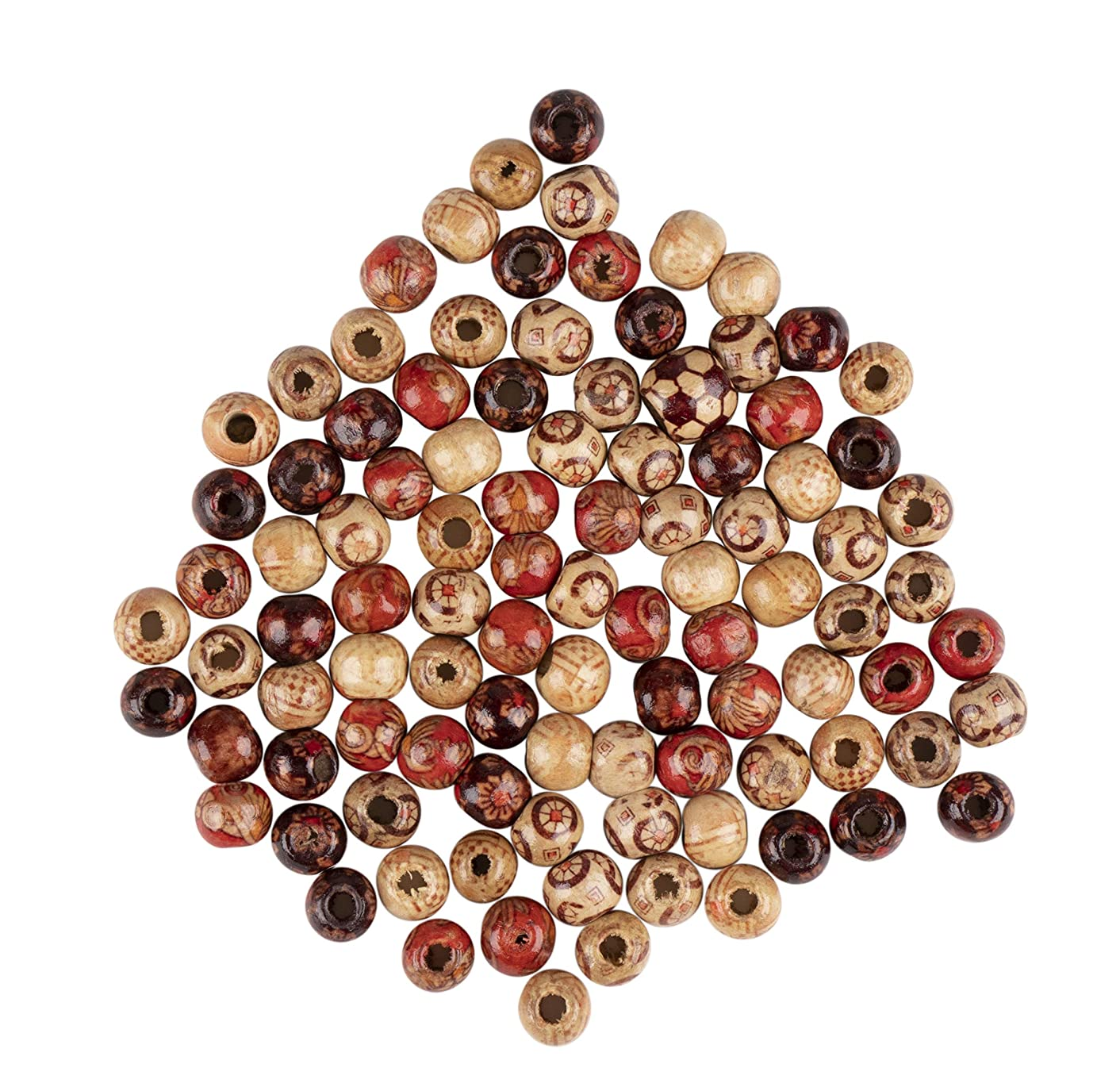 Wood Beads - 500-Pack Natural Painted Barrel Beads, Round Loose Beads, Perfect Accessories for Jewelry Making and Art Craft Project, Macrame Rosary Bracelet DIY, Assorted Colors, 9 x 10 mm