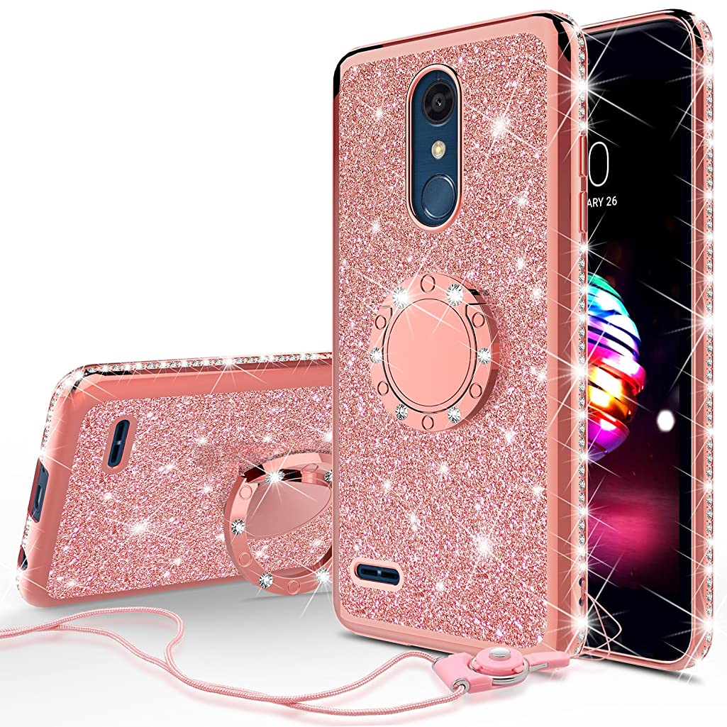 [GW USA] Glitter Cute Phone Case with Kickstand Compatible for LG K30 Case (X410),LG Premier Pro LTE Case,LG K10 2018 (MS425) Bling Diamond Rhinestone Bumper Ring Stand Sparkly Clear Soft Girls Women