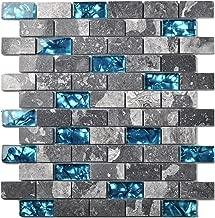 Ocean Teal Blue Glass Nature Stone Tile Kitchen Backsplash 3D Bath Shower Accent Wall Decor Gray Wave Marble 1 x 2 Subway Art Mosaics TSTNB03 (5 PCS [11.8'' X 11.8''/Each])