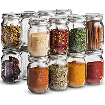 Ball Spice Jars [Set of 16] Mini Mason Jars 4 oz. Small Glass Storage Jars With Lids - For Herbs & Spices, Jelly, Honey Jars, (Not Canning) Favors, DIY & Crafts - Bundled With SEWANTA 28 Spice Labels