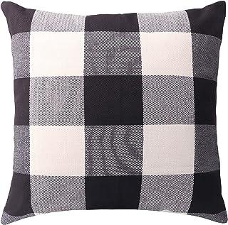 Keriqi Farmhouse Decorative Throw Pillow Covers Buffalo Check Plaid Cushion Covers Pillowcase for Home Sofa Bedroom Car18 x 18 Inch 45 x 45 cm