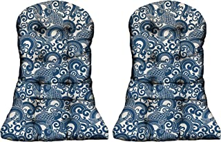 RSH DECOR - Indoor/Outdoor Tufted Adirondack Chair Seat Cushion (Choose Size and Quantity) (2, Waveform Tide Blue Fish)