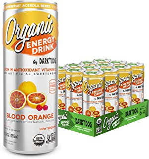Organic Energy Drink Blood Orange By Dark Dog | 12 Oz (12Count) | Powerful Organic Caffeine From Green Coffee, Green Tea & Guarana | High In Antioxidant Vitamin C From Superfruit Acerola Berry |