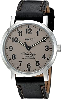 Timex Men's 'The Waterbury' Quartz Stainless Steel and Leather Dress Watch, Color:Black (Model: TW2P58800ZA)