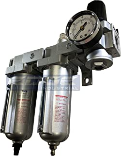 INDUSTRIAL RATED Three Stage Air Drying System - Air Particulate Filter, 0.01 Micron Coalescing Filter & Air Pressure Regulator Modular Combo 3/4
