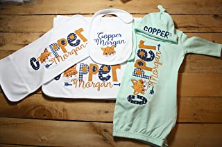 9261f120c80 Personalized Baby Gown Hat Bib Burp Cloth Set Monogrammed Customized  Applique Embroidered Baby Shower Coming Home