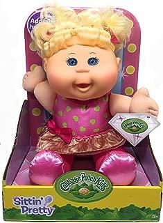 Cabbage Patch Kids Sittin Pretty Doll Blonde Hair/Blue Eyes - Pink Hearts Dress