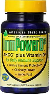 American BioSciences ImmPowerD3 AHCC & Vitamin D3 Daily Immune Maintenance, Gluten-Free , 30 Count (Pack of 1)