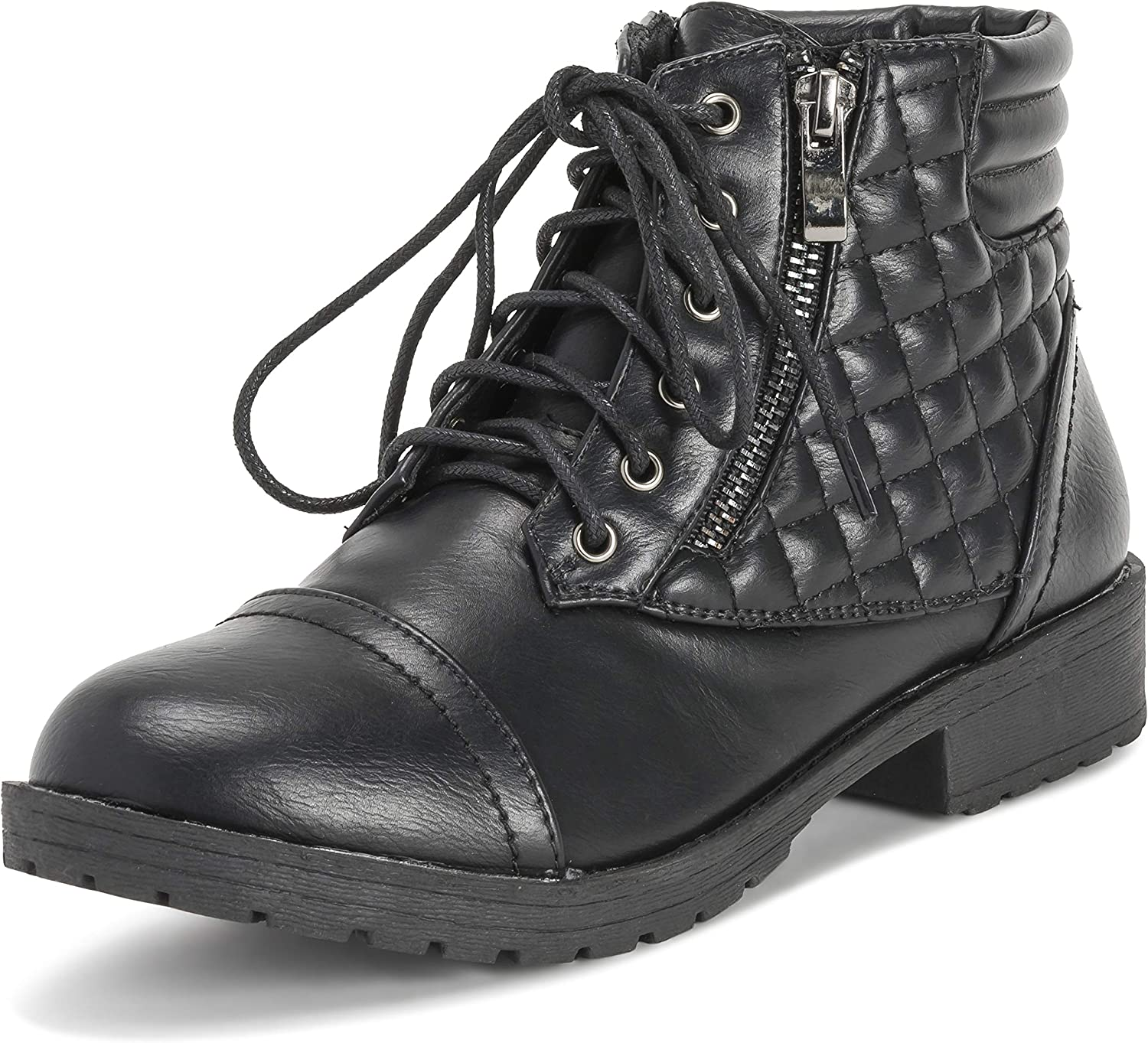 Viva shoes Womens Military Zip Army Winter Fashion Combat Ankle Boot Outside Pocket