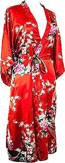 CCcollections Kimono Robe lang 16 Farben Prämie Pfau Brautjungfer Brautdusche Damen Geschenk