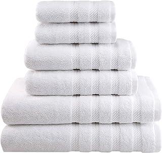 American Soft Linen 6-Piece 100% Turkish Genuine Cotton Premium & Luxury Towel Set for Bathroom & Kitchen, 2 Bath Towels, 2 Hand Towels & 2 Washcloths [Worth $72.95] - Bright White