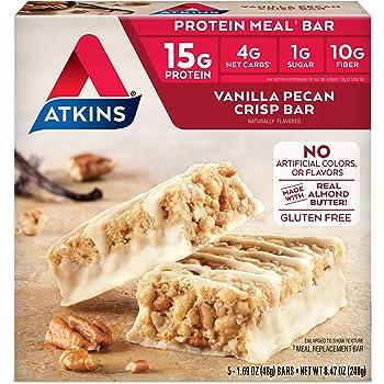Atkins Protein Meal Bar, Vanilla Pecan Crisp, Keto Friendly, 5 Count
