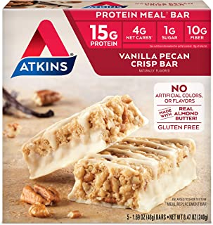 Atkins Protein Meal Bar, Vanilla Pecan Crisp, Keto Friendly, 5 Count