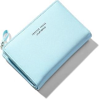 JIUFENG Women Zipper Wallet RFID Blocking Multi Purpose Coin Pouches Credit Card Holder Short Purses (Blue)