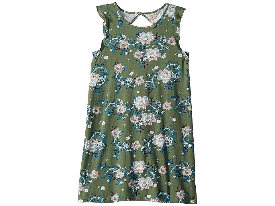 Roxy Kids Lovely Place Dress (Big Kids) (Olive Arizona Rising) Girl