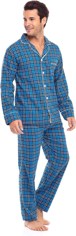 Soft PJ Pants /& Shirt Khombu Flannel Cotton Yarn Plaid Mens Pajama Set