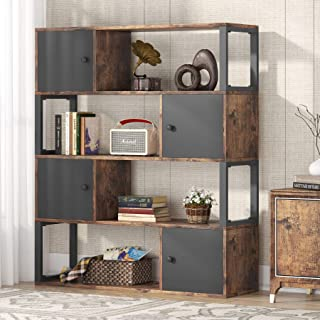 Bibliothèque Étagère livres, Étagère de Rangement à 4 Niveaux, Industrielle Bibliothèque avec armoire, pour Salon Séparate...