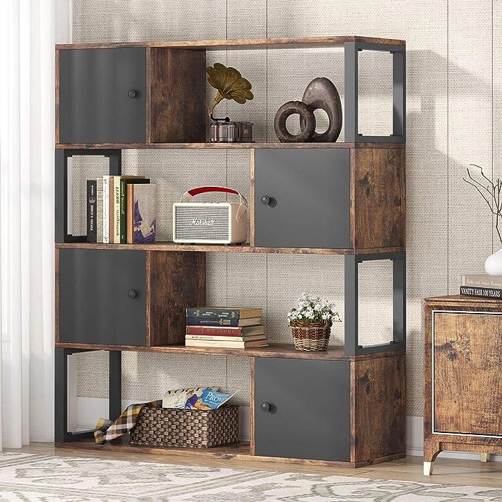 Libreria con stipetti a 4 ripiani, libreria in legno rustico e metallo, libreria per casa e ufficio tribesigns B08R6YL2XL