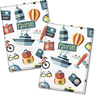 Cute Passport Cover for Women and Men, by Govinda Crafts, Eco Leather Passport Holder (Tourist Pattern, 2 pcs)