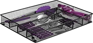 Cutlery Tray by Mindspace, 6 Compartments   Kitchen Utensil Silverware Tray   Flatware Drawer Organizer   The Mesh Collection, Black