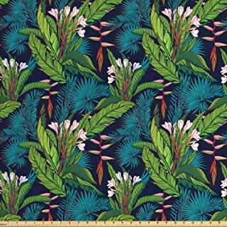 Ambesonne Leaf Fabric by The Yard, Tropical Jungle Palm Tree Banana Leaves Frangipani Heliconia on a Dark Blue Background, Decorative Fabric for Upholstery and Home Accents, 1 Yard, Green Teal