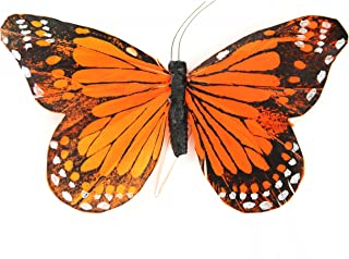 Touch of Nature 23028 1-Piece Feather Monarch Butterfly on Wire for Arts and Crafts, 6-Inch, Orange/Black