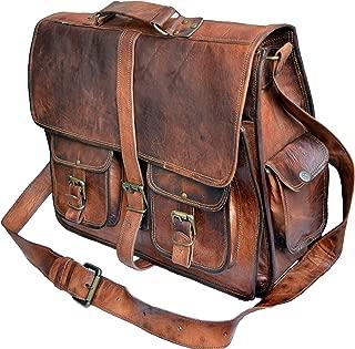 """16"""" Leather Messenger Bag Laptop case Office Briefcase Men Computer Distressed Shoulder Bag"""