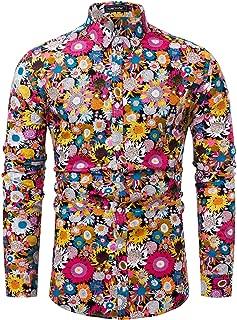 Men Floral Dress Shirts Long Sleeve Casual Button Down Shirts 100% Cotton