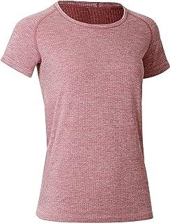 CRZ YOGA Women's Seamless Workout Athletic Tee Stretch Raglan Sleeve Shirts Running Tops Grey Rose Medium