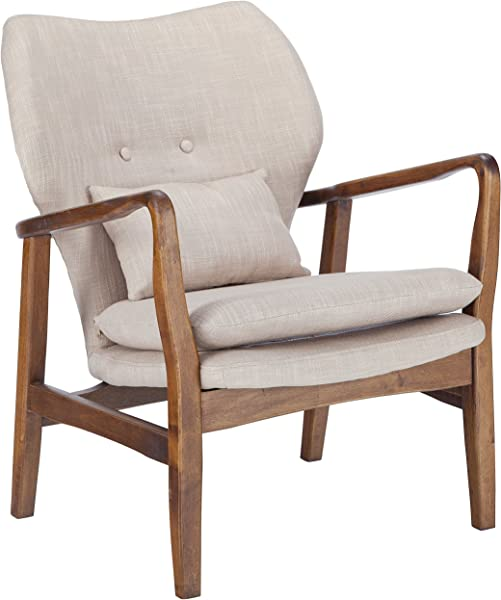 Poly And Bark EM 248 WAL BEI Atreya Chair With Walnut Wood Beige