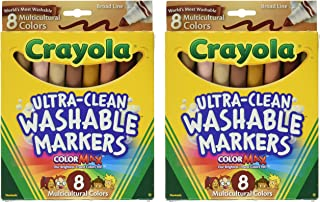 Crayola Washable Multicultural Colors Conical Tip Markers 8 Count - 2 Packs