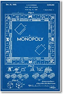 Monopoly Board Game Patent - NEW Famous Invention Patent Blueprint Poster