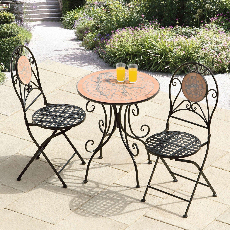 Suntime roto mosaico – Juego de muebles de jardín de hierro forjado negro – Juego de muebles de