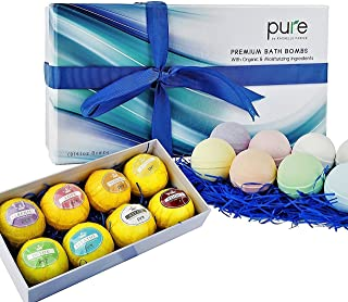 Natural Bath Bombs Gift Set - Bath Bombs for Kids & Adults Infused with Essential Oils! Individually Wrapped Lush Bath Bomb Gift Set for Women & Kids! (8 Pure Bath Bombs)