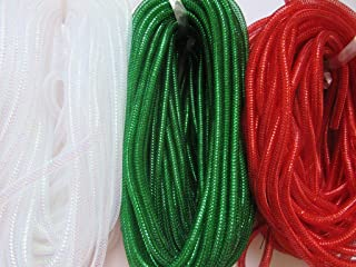 XiXiboutique 45 Yards Solid Mesh Tube Deco tubing Flex for Wreaths Cyberlox CRIN Crafts 8mm 3/8-Inch(Red/White/Green)