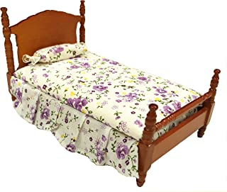 Inusitus Dollhouse Queen Bed | Detailed Wooden Design | with Mattress & Pillow | Dolls House Toys | 1/12 Scale (Medium)