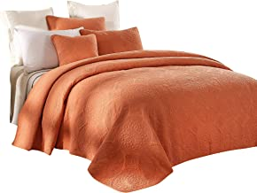 Tache Cotton Pastel Orange Rustic Stone Washed Reversible Matelassé Lightweight Tuscany Sunrise Floral Quilted Bedspread 3 Piece Set, Cal King
