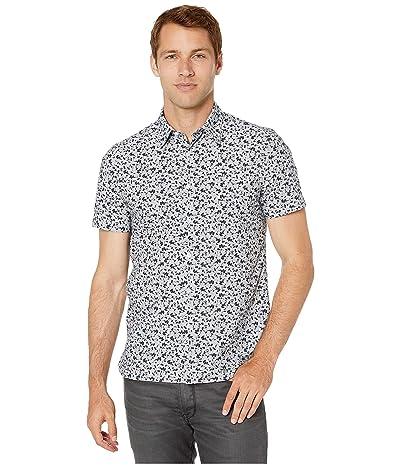 Perry Ellis Portfolio Abstract Floral Print Shirt (Eclipse) Men