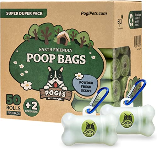 Pogi's Poop Bags - 50 Rolls (750 Bags) +2 Dispensers - Scented, Biodegradable, Leak-Proof Dog Waste Bags