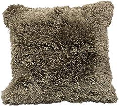 "LR Home Taupe Shag Throw Pillow, 22"" x 22"""