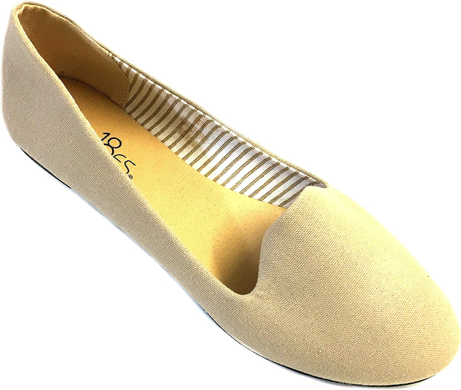 Womens Canvas Loafer Smoking shoes Flats 4024 Nude 11